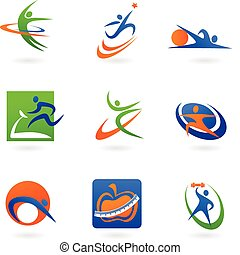 colorful abstract fitness icons and logos