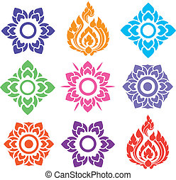 colorful floral and leaves of Thai pattern on white background, vector set