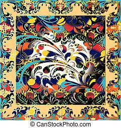 Colorful floral Paisley vector shawl scarf pattern. Russian style flowers, decorative ornaments. Flourish vintage bright background. Ornamental modern design with floral square frame. Modern texture