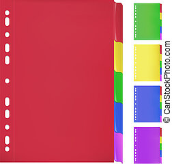 Set of paper folder in 5 different colors
