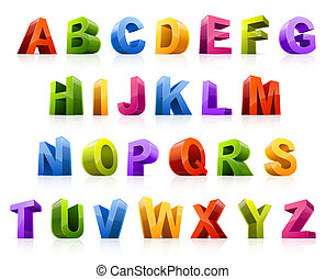 Design elements. Vector illustration of colorful three dimensional letters.