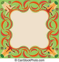 Colorful frame with cartoon cows and watermelons. School stand, school timetable, kindergarten design, stationery, education, postcard, greeting card, advertising and more. Vector