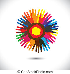 Colorful hand icons as petals of flower: happy community concept. This vector graphic illustration represents people team standing united, community unity, people helping, universal brotherhood, etc