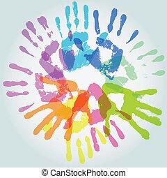 colorful handprint, vector illustration