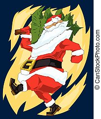 Colorful illustration of walking santa Claus with christmas tree