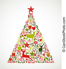 Colorful Merry Christmas tree shape with reindeers and holiday elements composition. EPS10 vector file organized in layers for easy editing.