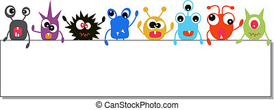 colorful monsters holding a banner