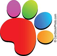 Colorful paw print logo