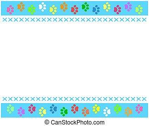 Colorful paw prints animal frame border.