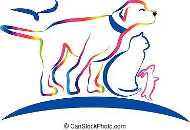 Colorful pets, dog, cat, rabbit, line art vector