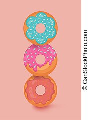 Colorful pink, blue, red glazed donut set on light orange background with shadows. The view from the top. Confection concept. Vector illustration in a modern flat style.