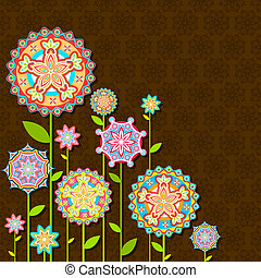 illustration of colorful retro flower on seamless backdrop