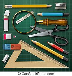 Colorful school supplies, vector Eps10 illustration.