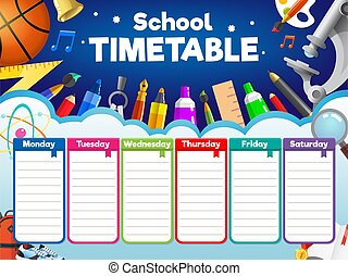 Colorful school timetable, weekly schedule with supplies and student items