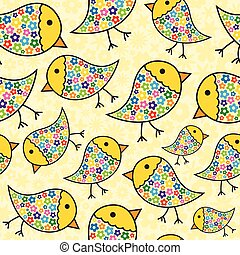 Colorful Seamless Repeating Chick Background
