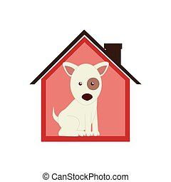 colorful silhouette house with dog animal pet
