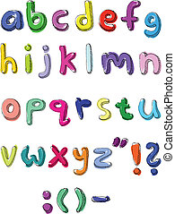 Colorful small letters hand written