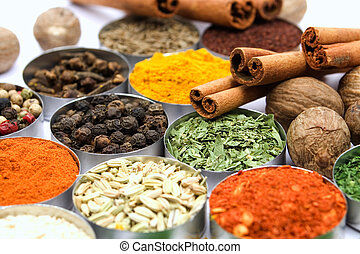 Assortment of various aromatic spices used for seasoning meals