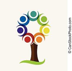 Colorful tree vector logo