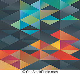 Colorful green and red tiled triangles ornament
