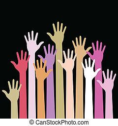 Colorful up hands on black background