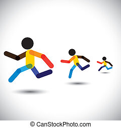 colorful vector icons of sprint athletes racing in a competition. This abstract graphic can also represent person winning the challenge, cardio workouts, health training, running marathon, etc