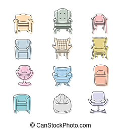 Colorfull armchairs vector isolated icons set
