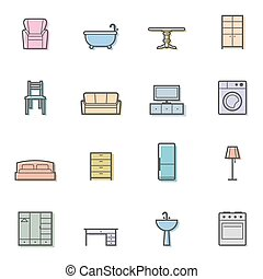 Colorfull home furniture icons set