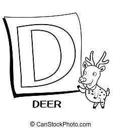 Coloring Alphabet for Kids, D