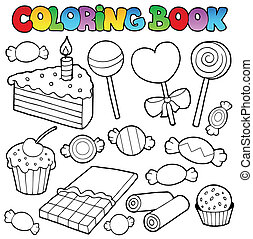 Coloring book candy and cakes - vector illustration.