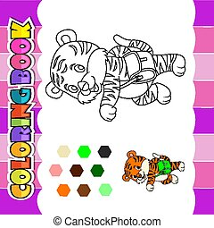 Coloring book cute tiger go to school
