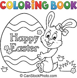 Coloring book Easter egg and bunny 1