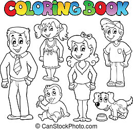 Coloring book family collection 1 - vector illustration.