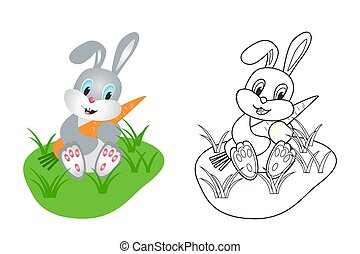coloring book for children, hare, vector image
