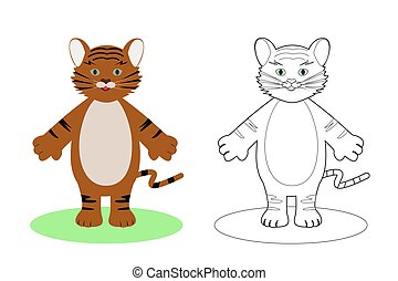 coloring book for children, tiger, vector illustration