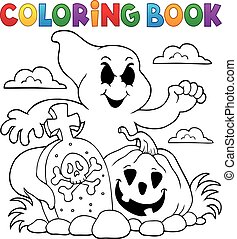 Coloring book ghost subject - eps10 vector illustration.