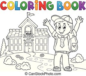 Coloring book happy pupil boy theme 2 - eps10 vector illustration.