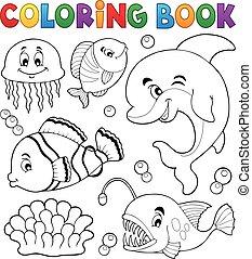 Coloring book ocean fauna topic 1 - eps10 vector illustration.