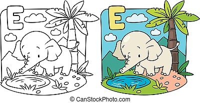 Coloring book of elephant. Alphabet D