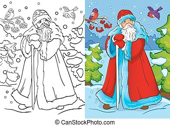 Coloring Book Of Father Frost Walking In Forest