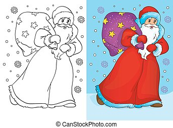 Coloring Book Of Father Frost Walking With Bag