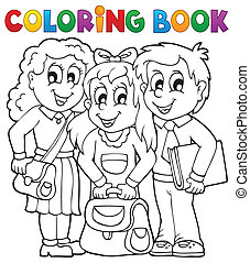 Coloring book pupil theme 1 - eps10 vector illustration.