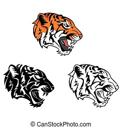Coloring book tiger roar character
