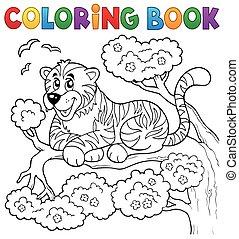 Coloring book tiger theme 1