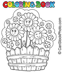 Coloring book with daisies - vector illustration.