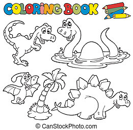 Coloring book with dinosaurs 1 - vector illustration.