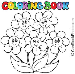 Coloring book with five flowers - vector illustration.