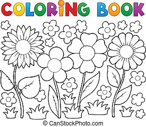 Coloring book with flower theme 2 - vector illustration.