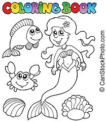 Coloring book with mermaid - vector illustration.