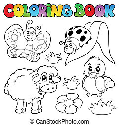 Coloring book with spring animals - vector illustration.